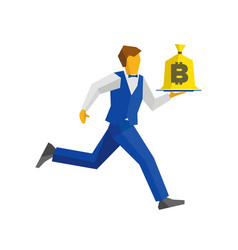 waiter in blue runs with a bitcoin bag on a tray vector image