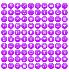 100 it business icons set purple vector