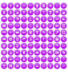 100 journey icons set purple vector