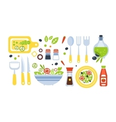 Salad preparation set of utensils vector
