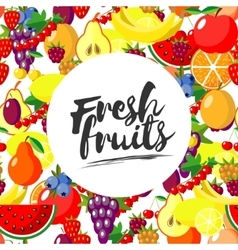 Fresh fruits background with juicy ripe vector image