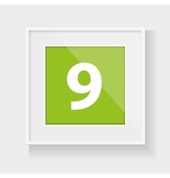 Square frame with number nine vector