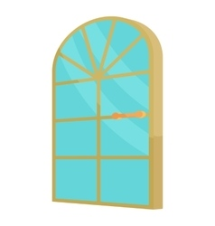 Arched glass door icon cartoon style vector