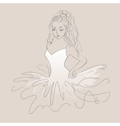 Sketch of ballerina expressive performance girl vector