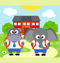 Back to school background with elephant vector
