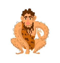 Prehistoric man with beard dressed in animal skin vector