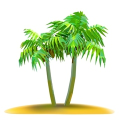 Coconut palm trees on small island vector