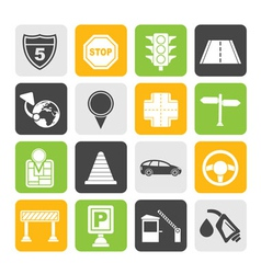Silhouette road and travel icons vector image