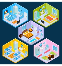 Isometric hotel interior vector