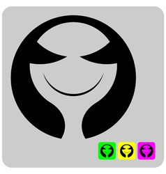 Cheerful stylized alien face vector