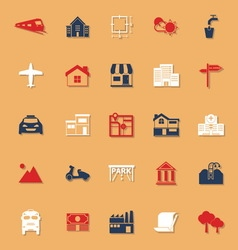 Real estate classic color icons with shadow vector