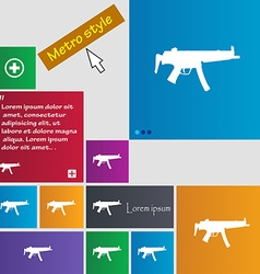 Machine gun icon sign buttons modern interface vector