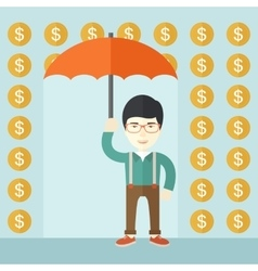 Happy businessman with umbrella vector