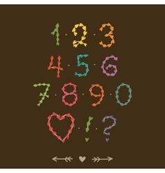 Cute hand drawn numbers with hearts vector