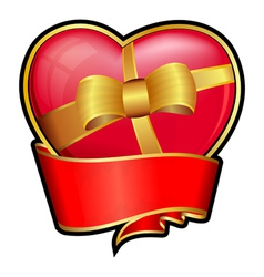 Valentine day heart with red ribbon and bow vector