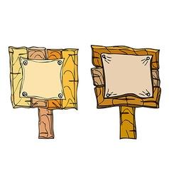 Set of wooden signposts vector image