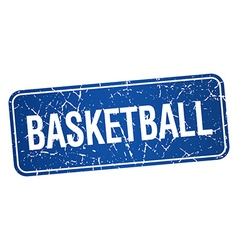 Basketball blue square grunge textured isolated vector