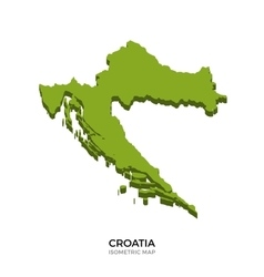 Isometric map of croatia detailed vector