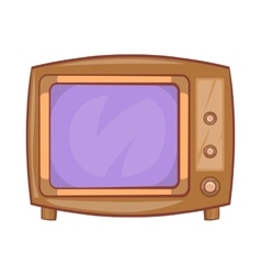 Retro tv icon in cartoon style vector