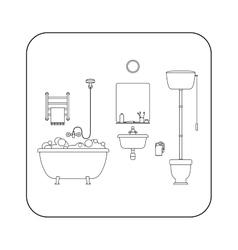 Bathroom line interior vector image vector image