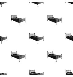 Bed with metal basebed with pink bed and forged vector