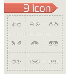 black cartoon eyes icons set vector image