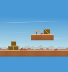 Box in desert scenery background game vector