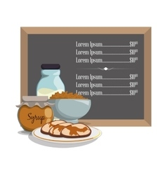 breakfast menu syrup pancake milk cereal vector image