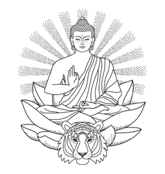 Buddha sitting on Lotus with light and Tiger vector image vector image