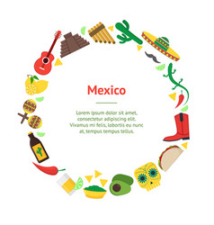 cartoon mexican culture banner card circle vector image