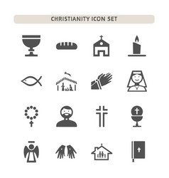Christianity icons set on white background vector