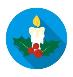 Christmas candle with holly berry icon in flat vector