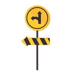 circular contour road sign turn right vector image