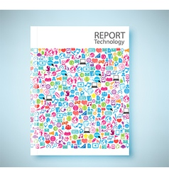Cover report social network background vector image vector image