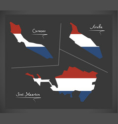 Curacao - aruba - sint maarten netherlands map vector