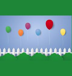 Festive balloons flying in the sky paper art vector