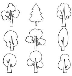 Flat tree set on doodles vector