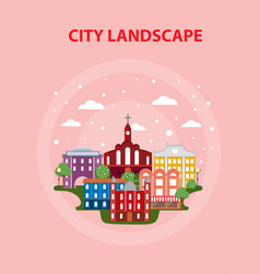 Flat urban city poster vector