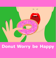 Girl with donut donut worry vector