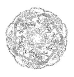 Hand drawn marine doodle circle ornament vector image