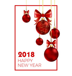 happy new year 2018 poster with congratulation and vector image vector image