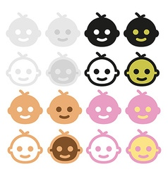 icons baby-faced gray beige pink black and white vector image