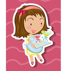 Little girl carrying tray of drinks vector image vector image