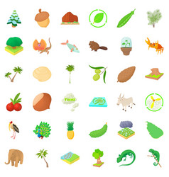 Natural resource wealth icons set cartoon style vector