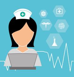 Nurse laptop working medicine vector