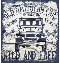Old american car vintage classic retro man t vector