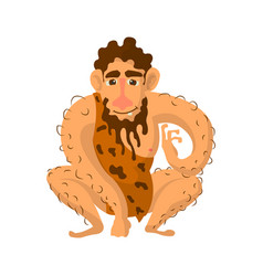 prehistoric man with beard dressed in animal skin vector image