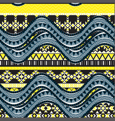 Sea wave background ethnic seamless pattern vector