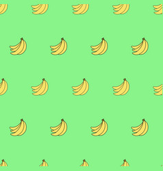 Seamless pattern with cartoon bananas on green vector