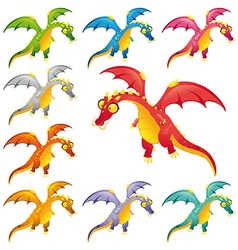 Set of colored dragons vector